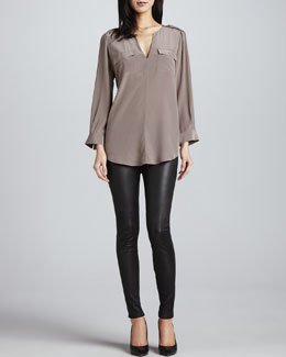 Joie Marlo Two-Pocket Blouse & Alvarine Stretch Leather Leggings
