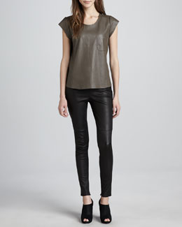 Joie Rancher Leather Pocket Tee & Alvarine Stretch Leather Leggings