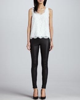 Joie Cina Lace Tank & Alvarine Stretch Leather Leggings