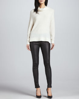 Joie Chesney Cowl-Neck Sweater & Alvarine Stretch Leather Leggings