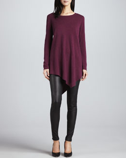 Joie The Tambrel Sweater, Heather Shiraz & Alvarine Stretch Leather Leggings