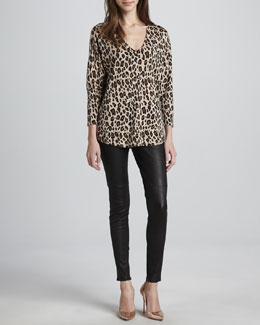 Joie Chyanne Leopard-Print Sweater & Alvarine Stretch Leather Leggings