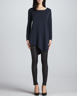 Joie The Tambrel Sweater, Heather Midnight & Alvarine Stretch Leather Leggings