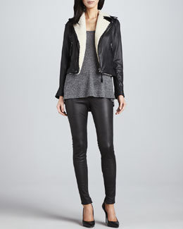 Joie Ailey Leather Jacket, Caesar Short-Sleeve T-Shirt & Alvarine Stretch Leather Leggings