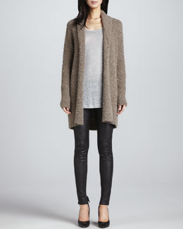 Joie Wendi Boucle Cardigan, Ashlee Long-Sleeve T-Shirt & Alverine Stretch Leather Leggings