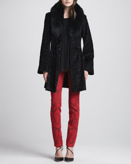 Alice + Olivia Kaylie Fur-Collar Coat, Pimmy Lace-Sleeve Top & Brocade Skinny Jeans