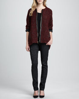 Alice + Olivia Jeannie Leather-Trim Tweed Coat & Brocade Skinny Pants