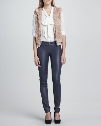 Alice + Olivia Jael Hooded Fur Vest, Arie Tie-Neck Blouse & Leather Zip-Front Leggings
