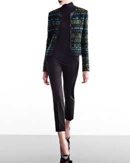 Akris punto Jacquard Jacket, Jersey Shirt, & Cropped Pants