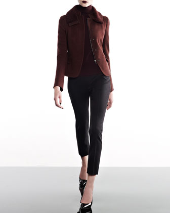 Jersey Jacket with Detachable Fur Collar, Mock-Neck Sweater, & Cropped ...