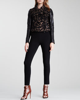 Diane von Furstenberg Becky Layered Short-Sleeve Blouse, Marvella Leopard-Print Jacket & Lena Knit Suiting Pants