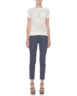 kate spade new york broom dot capri pants & mercy dot sweater