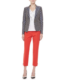 kate spade new york millie dot jacquard blazer, jackie bow-side capri pants & beckie sleeveless ruffle-front blouse