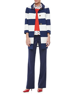 kate spade new york franny 3/4-sleeve striped coat, yardley two-fer sweater & ali pyramid-button trousers
