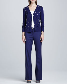 kate spade new york galvin long-sleeve cardigan & ali pyramid-button trousers