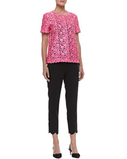 kate spade new york alexandria jewel-neck lace top & jackie scalloped capri pants