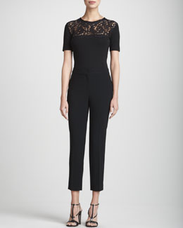 St. John Collection Lace-Yoke Blouse & Emma Crepe Marocain Pants