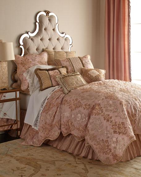 King Alessandra Scalloped Damask Duvet Cover