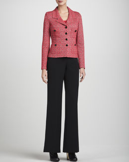 St. John Collection Four-Button Blazer, Rib-Knit Scoop-Neck Shell & Diana Marocain Pants