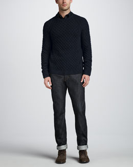 Vince Fisherman Cable Sweater, Paisley-Print Sport Shirt & Dry Selvedge Jeans