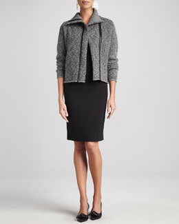 Eileen Fisher Herringbone Zip-Front Jacket & Ponte Leather-Trim Sheath Dress
