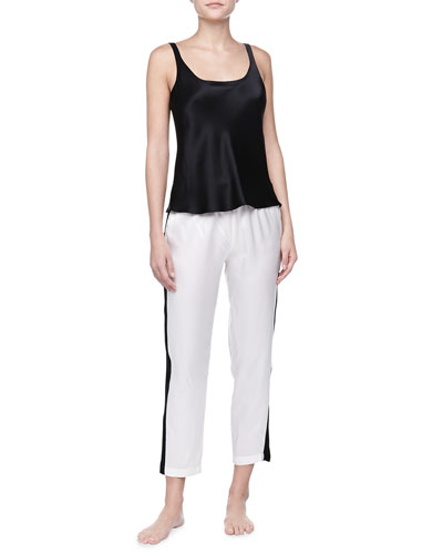 Josie Natori Silk Camisole & Striped Silk Pants