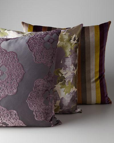 Purple Floral & Striped Pillow Group