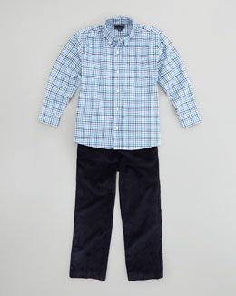 Oscar de la Renta Boys' Check Button-Down Shirt & Classic Corduroy Pants