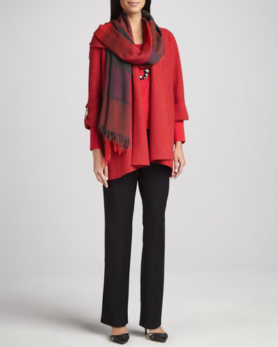 Eileen Fisher Lightweight Boiled Wool Coat, Straight-Leg Pants & Ombre Maxi-Check Scarf