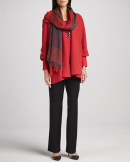 Eileen Fisher Lightweight Boiled Wool Coat, Straight-Leg Pants & Ombre Maxi-Check Scarf, Women's
