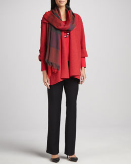 Eileen Fisher Lightweight Boiled Wool Coat, Straight-Leg Pants & Ombre Maxi-Check Scarf, Petite