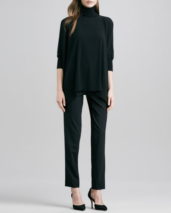 Turtleneck Poncho & Relaxed Stretch-Wool Trousers
