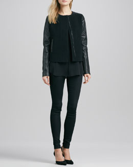 Vince Leather-Sleeve Short Wool Jacket, Cap-Sleeve Placket Silk Blouse & Riley Leggings