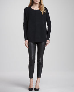 Vince Chevron Crewneck Sweater & Zipper-Cuff Cropped Leather Leggings