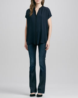 Vince Cap-Sleeve Contrast Placket Silk Blouse & Taylor High-Rise Boot-Cut Jeans