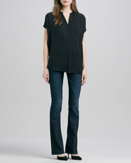 Vince Cap-Sleeve Placket Silk Blouse & Taylor High-Rise Boot-Cut Jeans
