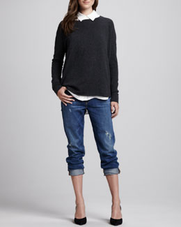 Vince Boat-Neck Cashmere Sweater, button-down Silk Blouse & Many Winter Wrecked Boyfriend Jeans