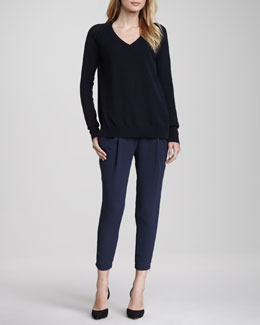 Vince V-Neck Sweater with Raglan Sleeves & Stretch Wool Harem Pants
