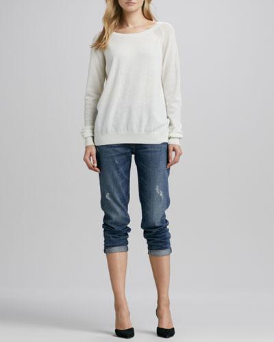 Vince Raglan-Sleeve Cashmere Sweater & Manny Boyfriend Jeans