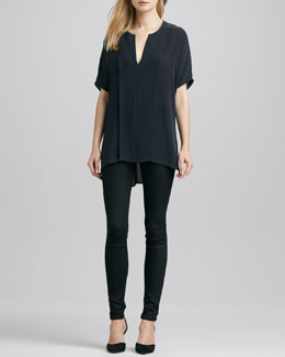 Vince Double-Panel V-Neck Blouse & Riley Leggings