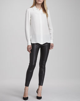Vince Button-Down Silk Blouse & Zipper-Cuff Cropped Leather Leggings