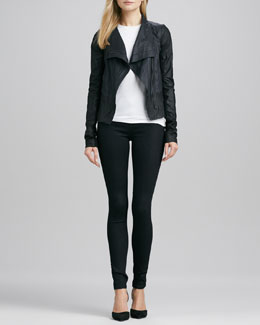 Vince Colorblock Asymmetric Leather Jacket, Slim Dolman Tee & Riley Leggings