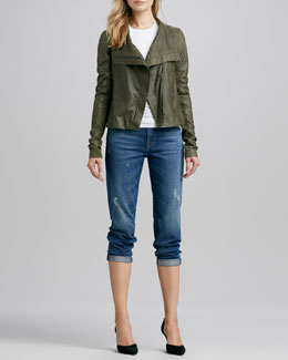 Vince Asymmetric Leather Jacket, Slim Dolman Tee & Manny Boyfriend Jeans