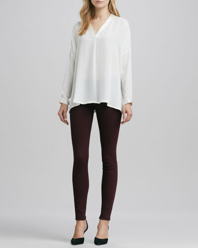 Vince Satin-V-Placket Silk Blouse & Riley Leggings