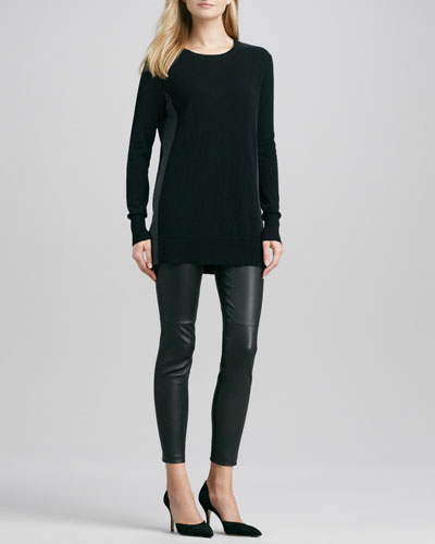 Vince Bicolor Crewneck Cashmere Sweater & Zipper-Cuff Cropped Leather Leggings