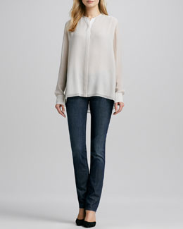 Vince Double-Layer Silk Blouse & Finley Cigarette Jeans