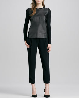Vince Luxe Leather/Merino Sweater & Stretch Wool Harem Pants