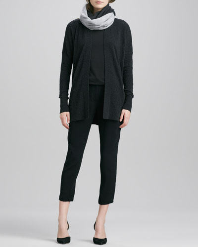 Vince Long Open Cashmere Cardigan, Boat-Neck Long-Sleeve Tee, Stretch Wool Harem Pants & Colorblock Loop Scarf
