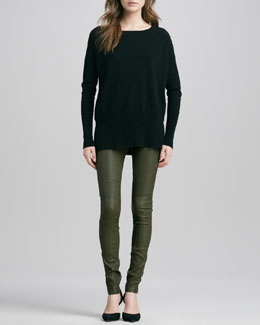 Vince Cashmere Square-Neck Sweater & Moto Leather Pants