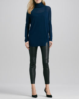 Vince Long-Sleeve Turtleneck, Favorite Tank & Cropped Leather Leggings